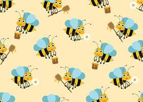 Padrão sem emenda de mascotes de personagem de abelha bonito dos desenhos animados