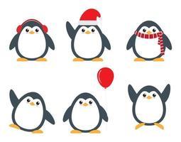Conjunto de personagens de desenhos animados de pinguim bonitinho em poses diferentes vetor