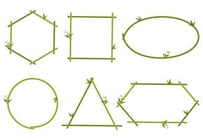 Coleção de armação de borda de bambu verde vetor