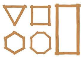 Coleção de armação de borda de madeira vetor