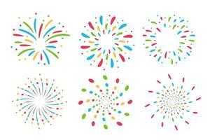 Coleção colorida de fogos de artifício vetor