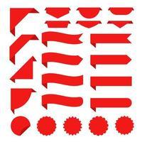 Fita vermelha plana definida para promoção, etiqueta de desconto nas vendas do produto. vetor