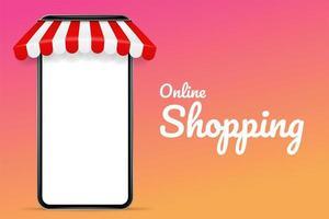 Cartaz de compras on-line com telefone móvel em branco com um telhado vetor