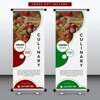 restaurante arregaçar banner design com design circular verde e vermelho vetor