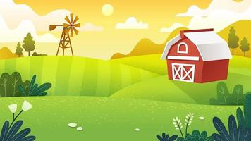 Campos agrícolas em estilo de trabalho mínimo e plano vetor