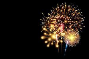 Coleção de fogo de artifício colorido e efeito especial de brilho de luz isolado no preto vetor