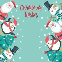 Papai Noel, pinguim, árvore e boneco de neve no estilo cartoon, com espaço para texto
