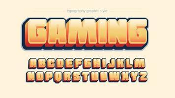 Negrito 3D maiúsculas laranja tipografia dos desenhos animados vetor