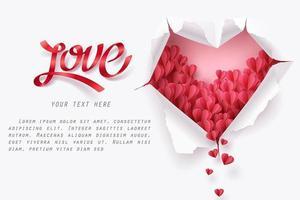 Corações caindo através de papel rasgado em forma de coração com texto de amor vetor
