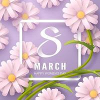 Arte em papel, de 8 de março, caligrafia do dia da mulher e flor em tons de roxo vetor