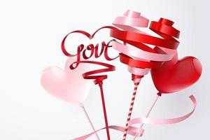 Gire a fita e o balão de coração vermelho e rosa vetor