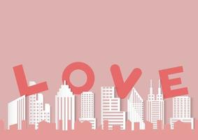 Fundo de dia dos namorados com amor palavra e papel cortado estilo cidade vetor