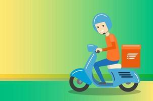 Serviço de motocicleta de scooter de passeio de menino de entrega vetor