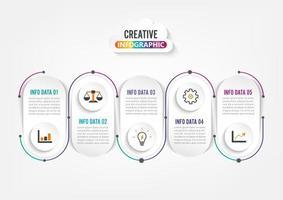 Infografia de cinco etapas. Modelo de folheto, negócios, web design.