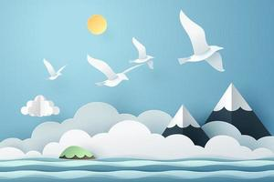Arte de papel gaivota voar acima do mar vetor