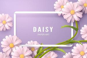 Arte de papel da margarida flor e modelo de plano de fundo vetor
