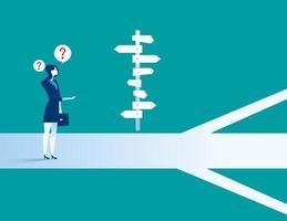 Empresária em pé confuso por sinal de direção vetor