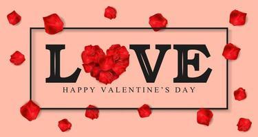 Texto de amor e pétalas de rosa sobre fundo de cor rosa vetor