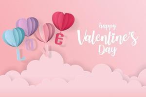 Cartão de amor e dia dos namorados com balões de coração e nuvens em estilo de corte de papel