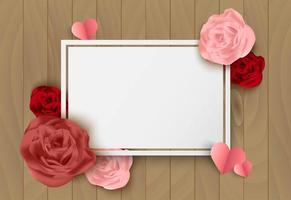 Fundo de madeira de dia dos namorados com rosas e cartão branco em branco vetor