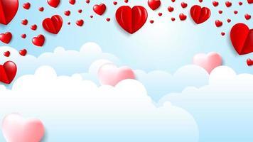Fundo de nuvem de dia dos namorados com corações 3D rosa e vermelho vetor