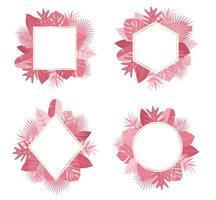 Coleção de quadros de folha rosa tropical design botânico exótico vetor