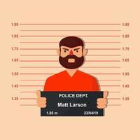 Prisioneiro segura Mugshot para sessão de fotos vetor