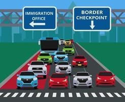 Engarrafamento urbano na passagem de fronteira vetor