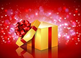 Caixa de presente quadrada aberta com corações a voar vetor
