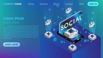 Conceito de comunicação social de realidade virtual com tecnologia conectar vetor