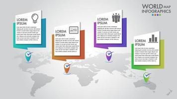 Opções de etapa 5 de infográficos de negócios de mapa mundo vetor