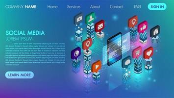 Mídia social plana 3d design vetor