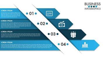 Modelo de design de infografia com conceito de 4 opções