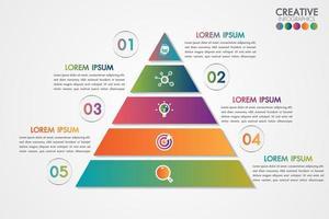 Modelo colorido de pirâmide infográfico com conceito de 5 etapas ou opções vetor