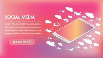 Aplicativos de mídia social em um design 3d de smartphone vetor