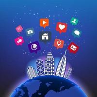 Abstrata tecnologia global digital no céu noturno com ícones de mídias sociais