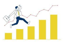 Empresário pulando no gráfico. vetor
