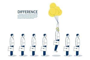 Empresários voando com balões vetor