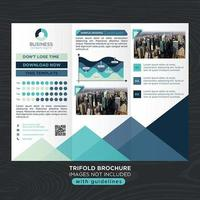 Brochura de negócios moderna tons azuis com gráficos vetor