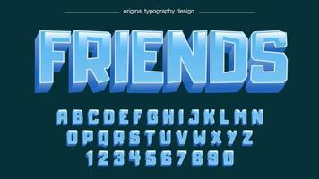 Tipografia em negrito dos desenhos animados azuis vetor