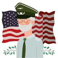 cartão do dia memorial com veterano e bandeira dos EUA vetor