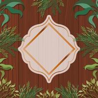 moldura geométrica dourada com fundo de ervas e madeira