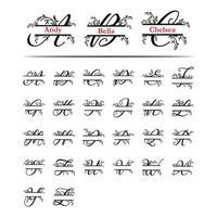 Conjunto de monograma inicial planta decorativa letra dividida