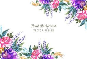 Moldura feita de fundo decorativo composição floral vetor