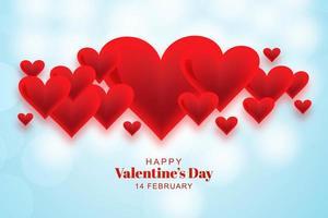 Feliz dia dos namorados adorável corações sobre fundo azul bokeh vetor