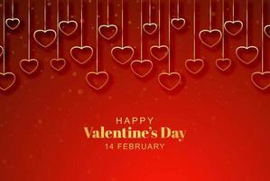 Corações pendurados dourados sobre fundo vermelho de dia dos namorados vetor