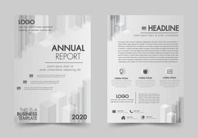 Brochura design flyer modelo cor branca e cinza vetor