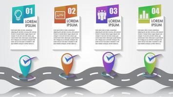 Infográfico de negócios com ícones de 4 etapas e marcos da empresa vetor