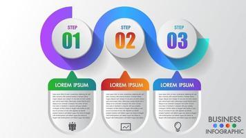 Infografia de negócios 3 passo moderno criativo passo a passo vetor