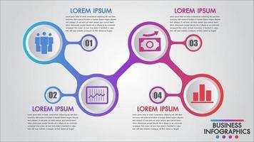 Modelo de 4 etapas de ícone de negócios infográficos vetor
